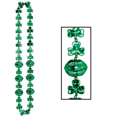 Shamrock Beads with Kiss Me Lips 42in