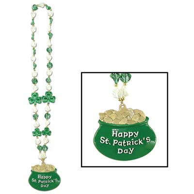 Shamrock Beads with Pot-O-Gold Medallion 39in
