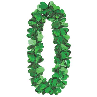 Flashy Foil Shamrock Lei 40in