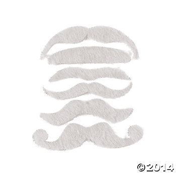 Synthetic White Mustache Assortment