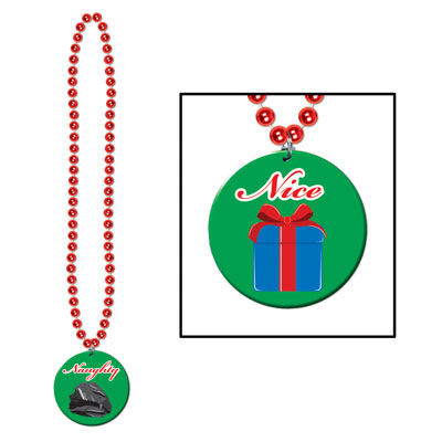 Beads with Prtd Naughty Or Nice Medal 36in