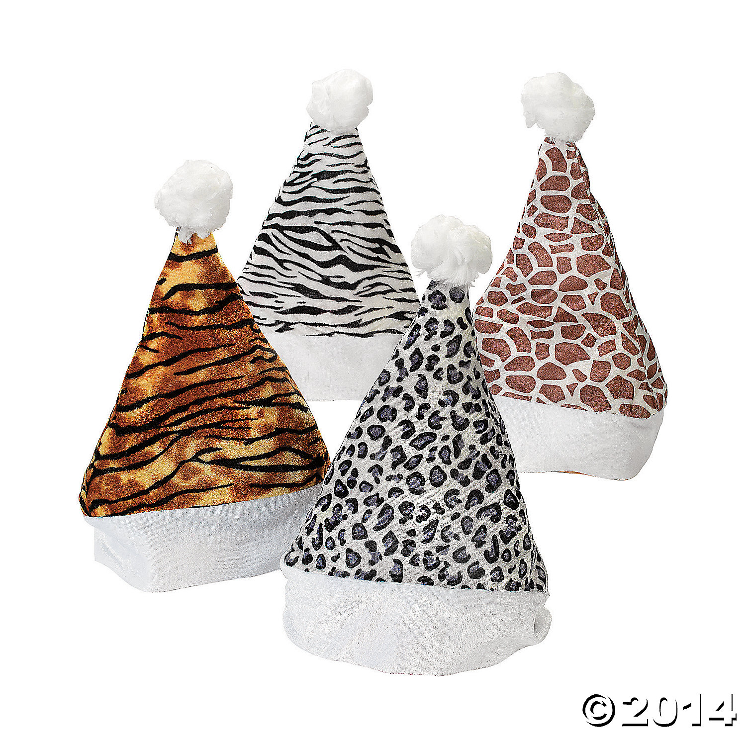 Velour Animal Print Santa Hats