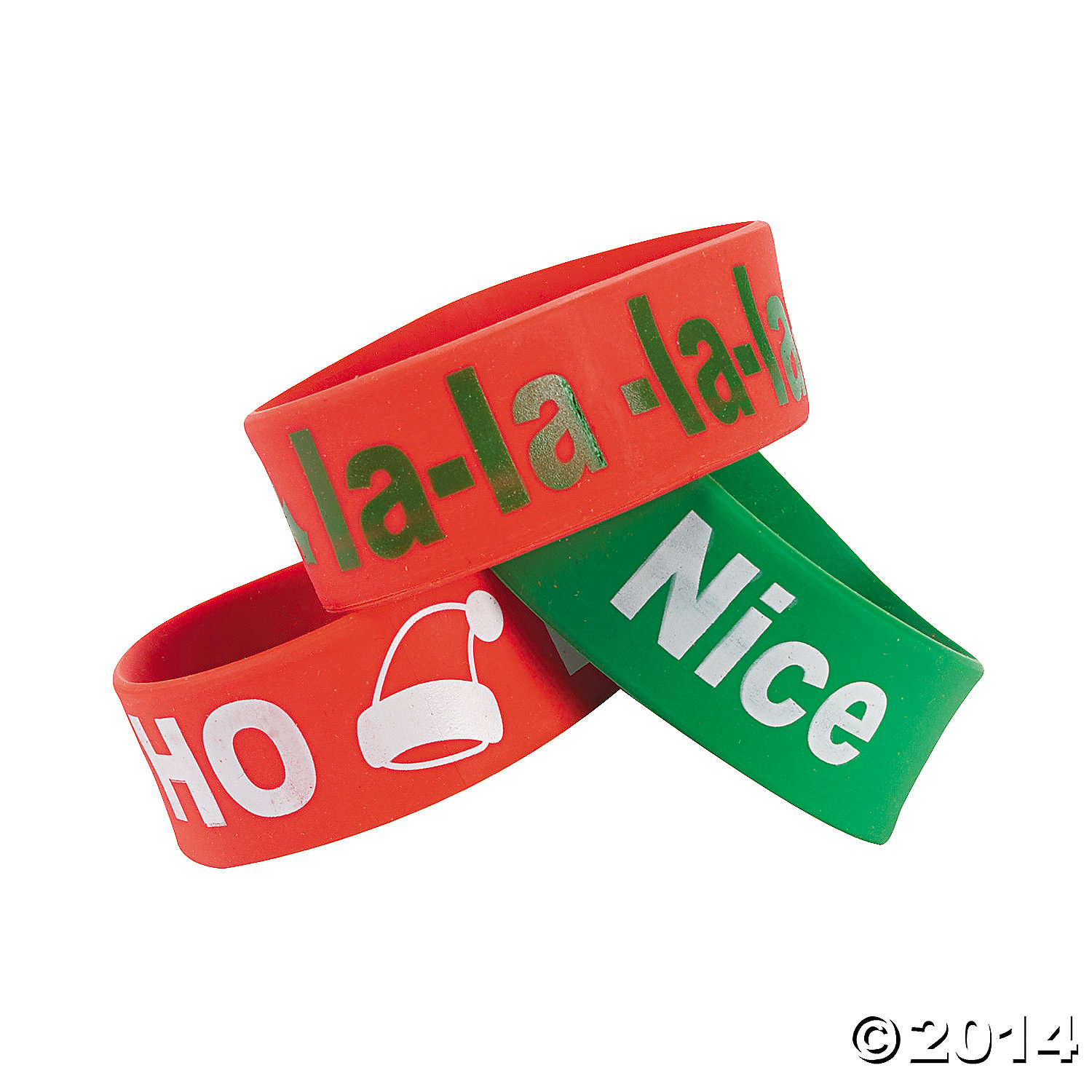 Rubber Holiday Sayings Big Band Bracelets