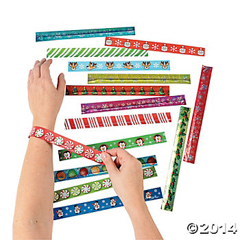 Paper Holiday Slap Bracelet Assortment