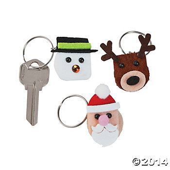 Polyester Christmas Puffball Key Chain