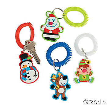 Rubber Holly Jolly Key Chains