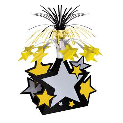 Star Centerpiece 15in black gold silver