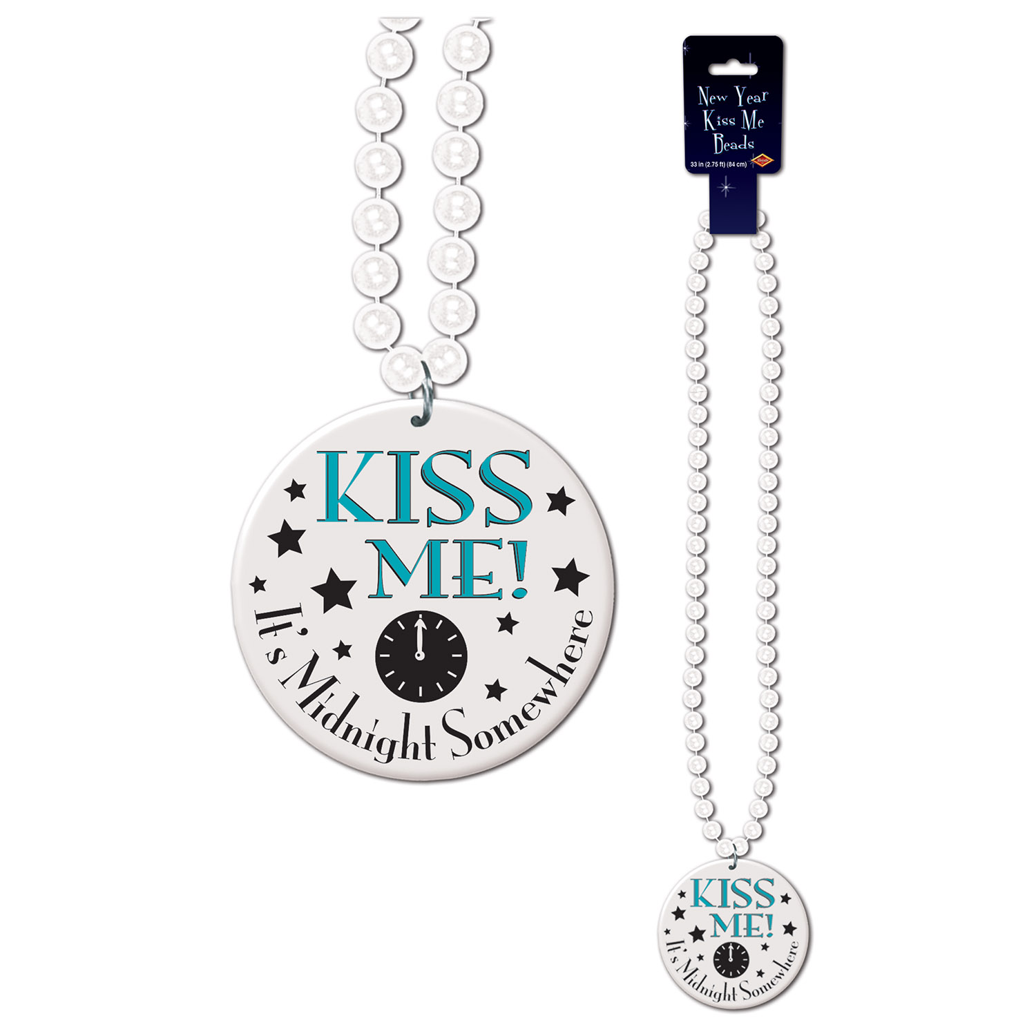 Beads Kiss Me It's Midnight Medal 33in white