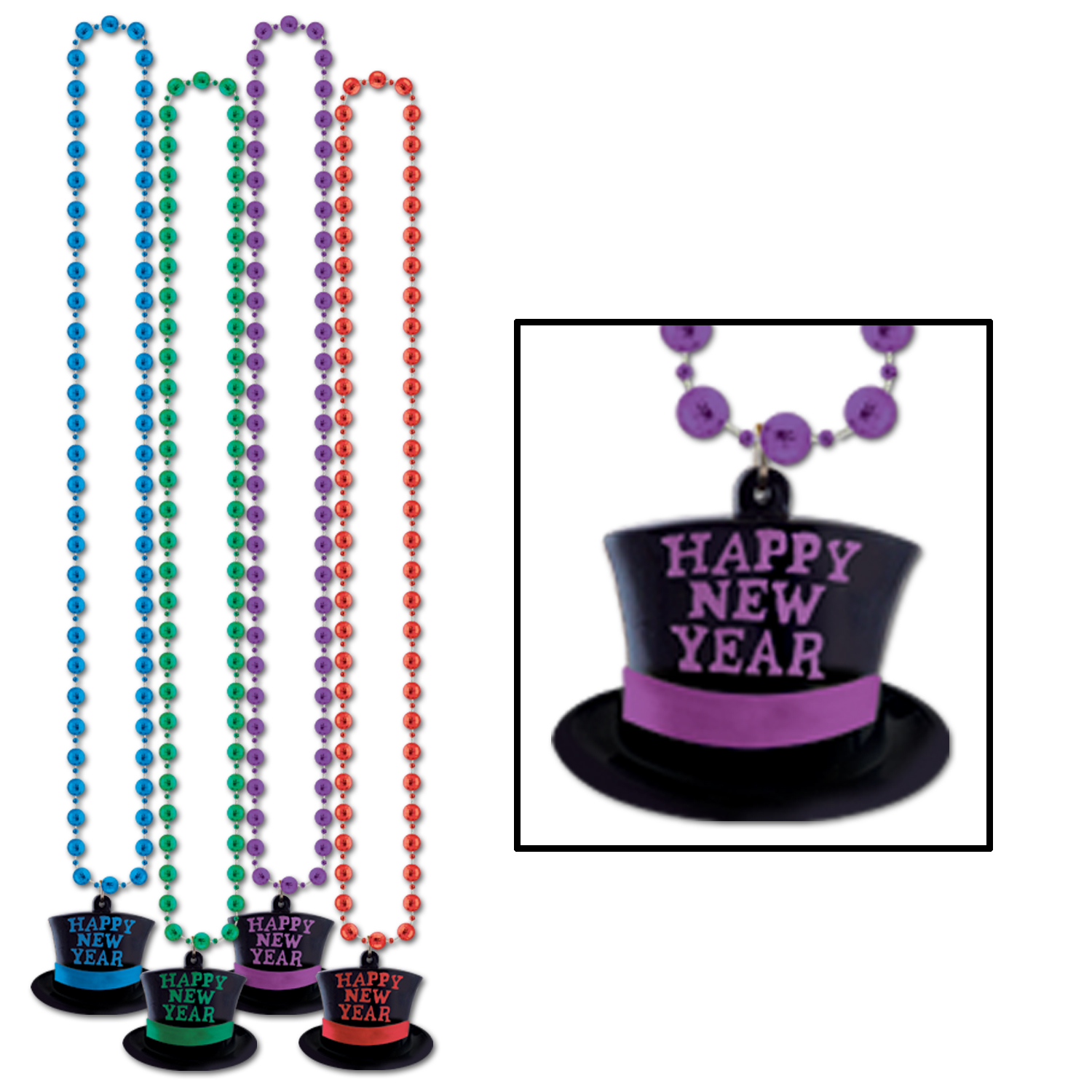 Beads Happy New Year Top Hat Medallion 36in asstd