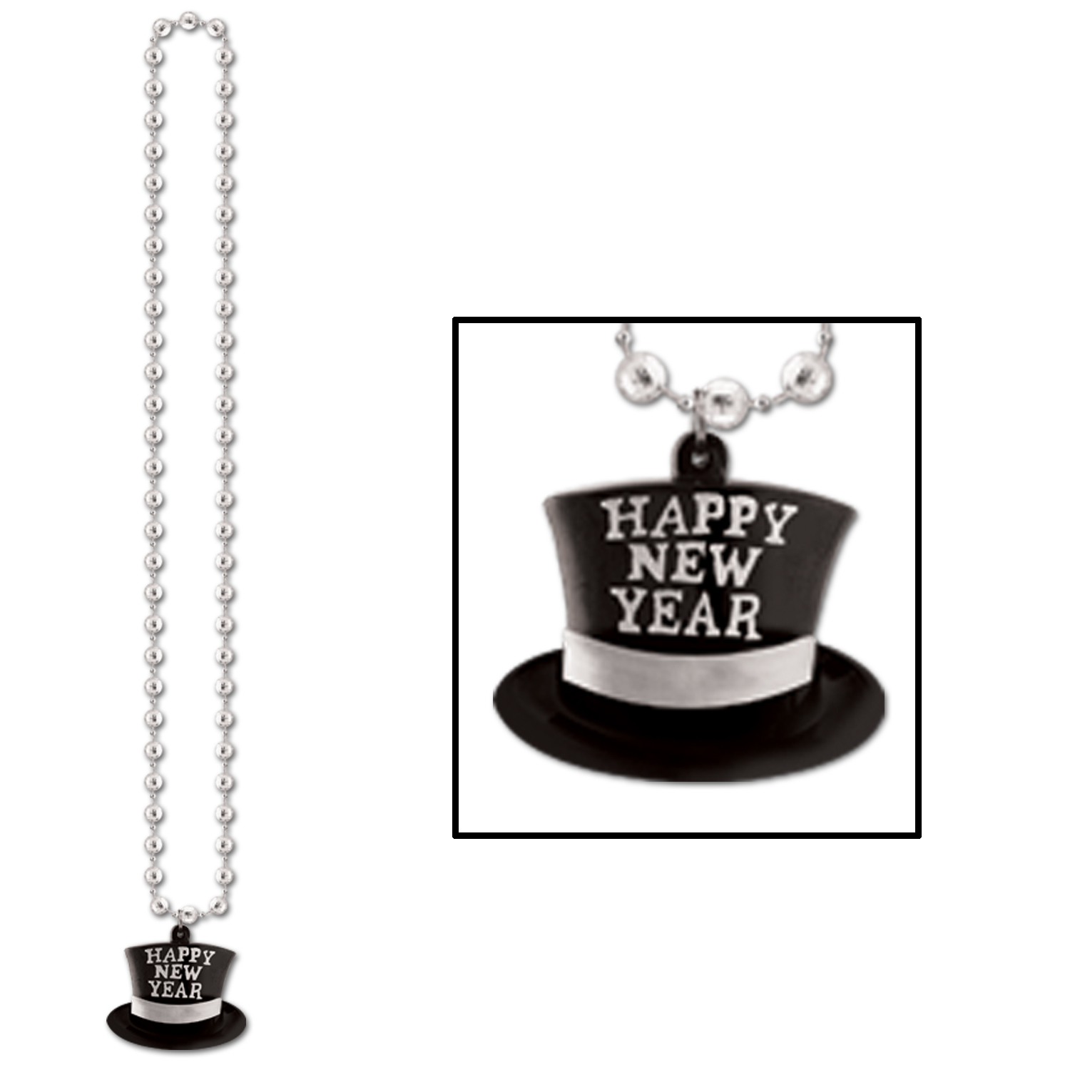 Beads Happy New Year Top Hat Medallion 36in silver
