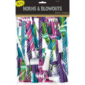 Horns Blowouts Mega Pack- Black Pink Silver 50ct