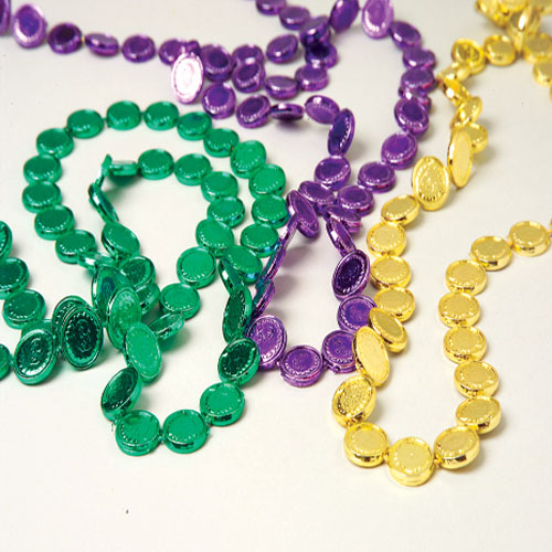 32 Inch Mardi Gras Coin Necklaces - 12ct