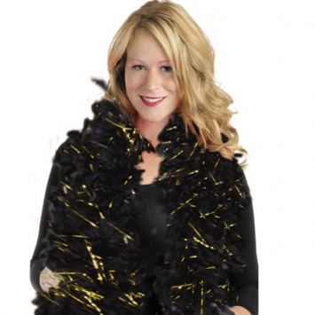 Black and Gold Hollywood Tinsel Boa- 72in