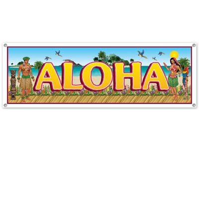 Tropical Beach Sign Banner 5ft x 21in