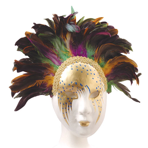 Deluxe Mardi Gras Feather Masquerade Masks