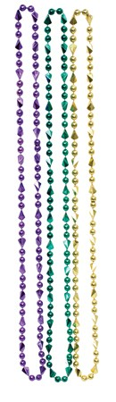 Purple Green & Gold Mardi Gras Round Bead Necklace