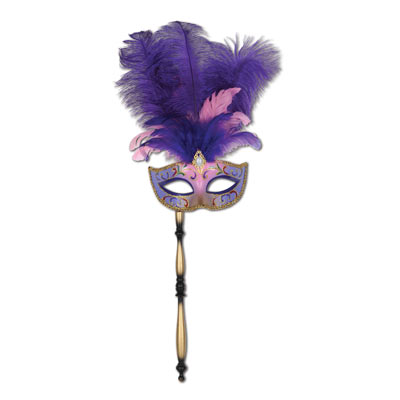 Feathered Masquerade Mask with Stick - Purple