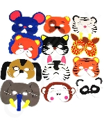 Foam Animal Masks - Assorted 12ct