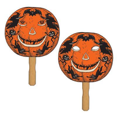 Jack O' Lantern Paddle Masks 9 x 10.25in