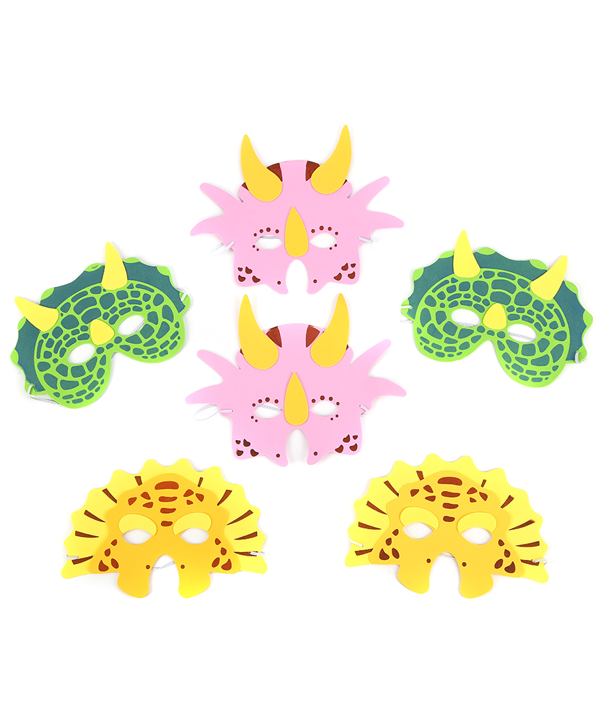 Foam Dinosaur Masks - Assorted 12