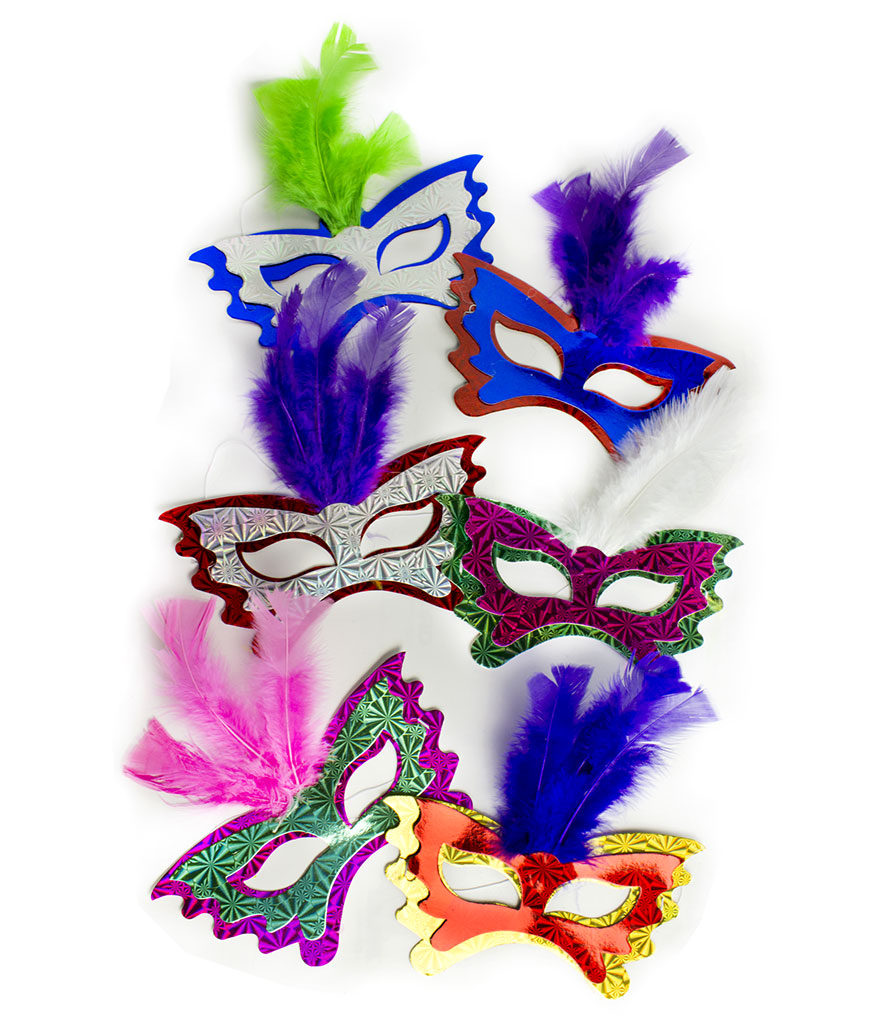 Feather Masks Assorted 12ct