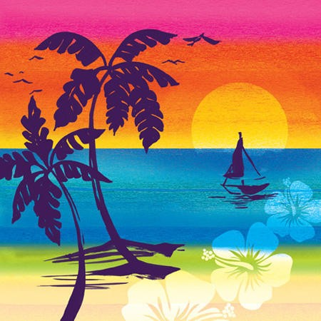 Aloha Summer 3-Ply Beverage Napkins