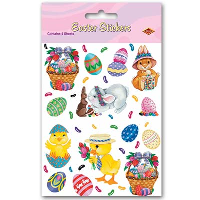 Bunny Basket & Egg Stickers 4.75 x 7.5in