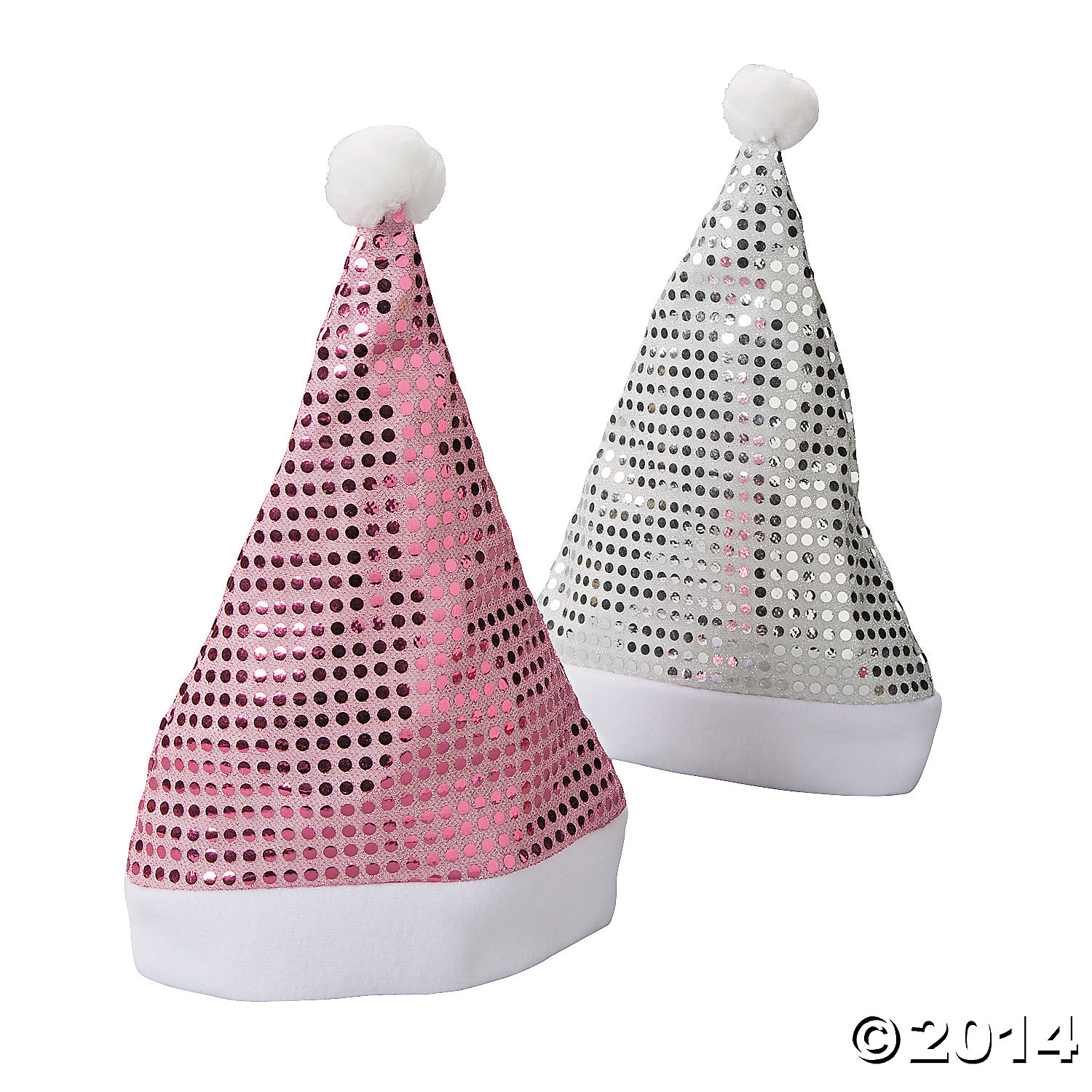 Polyester Sequin Santa Hats - Pink And Silver Assortment