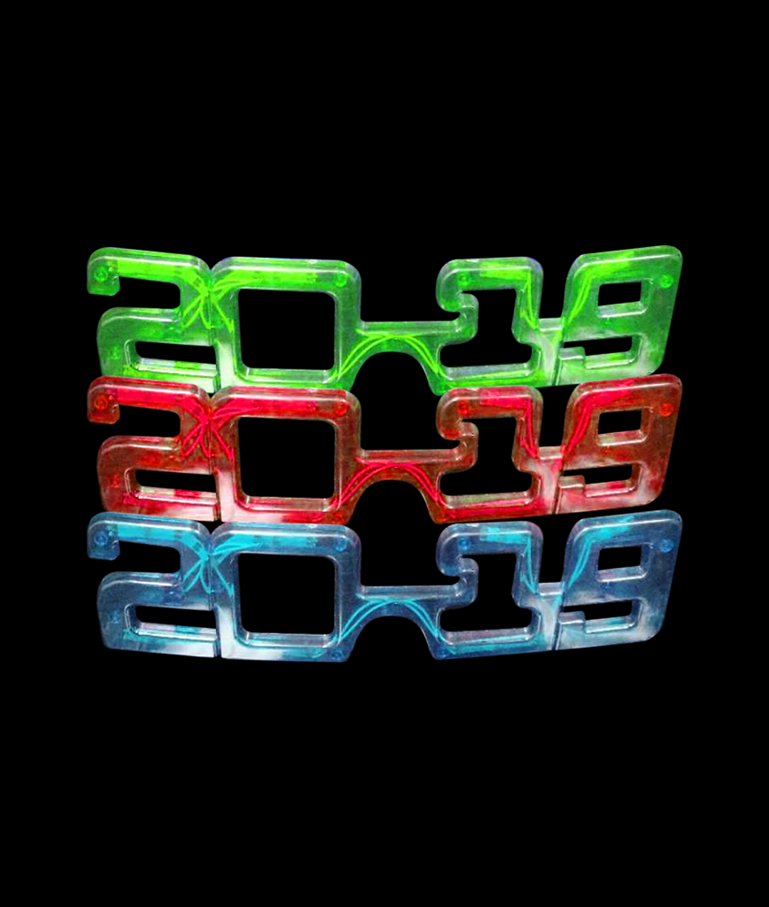 Fun Central BD041 LED Light Up 2019 Eyeglasses - Assorted Pack of 12