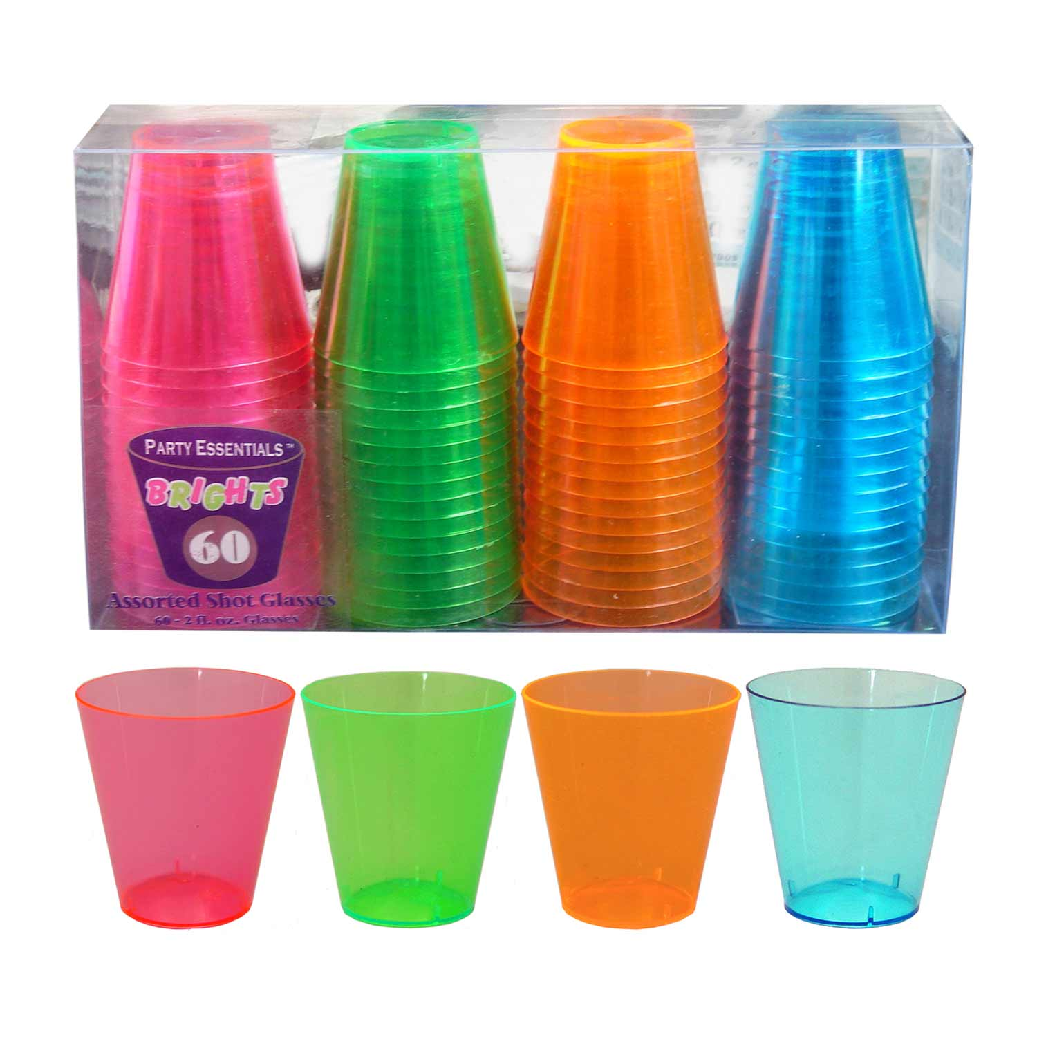 Assorted Neon 2oz Shot Glasses - 60ct