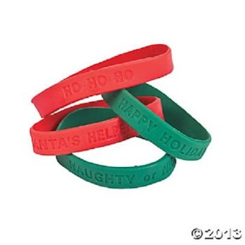 Rubber Holiday Sayings Bracelets