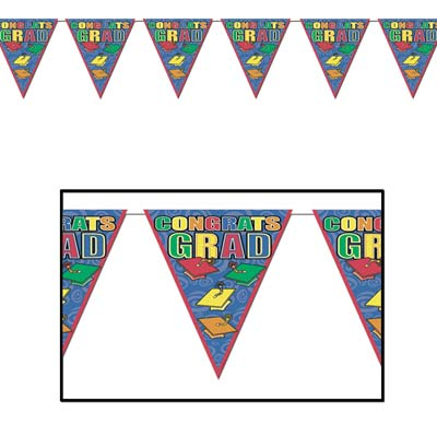 Congrats Grad Pennant Banner 10 in x 12 ft