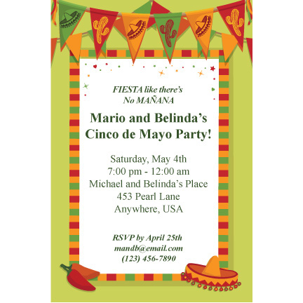 Fiesta Flags - Custom Invitations