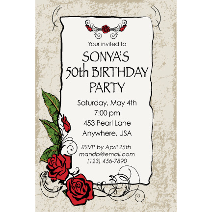 Mexican Grunge Roses - Custom Invitations