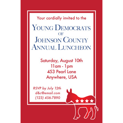 Democratic Red - Custom Invitations
