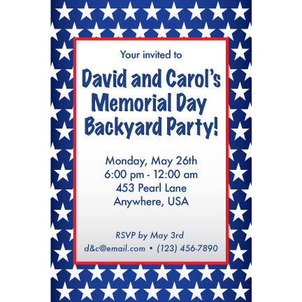 Red White Blue Stars - Custom Invitations