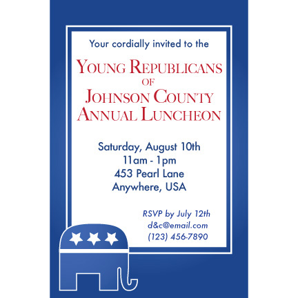 Republican Blue - Custom Invitations