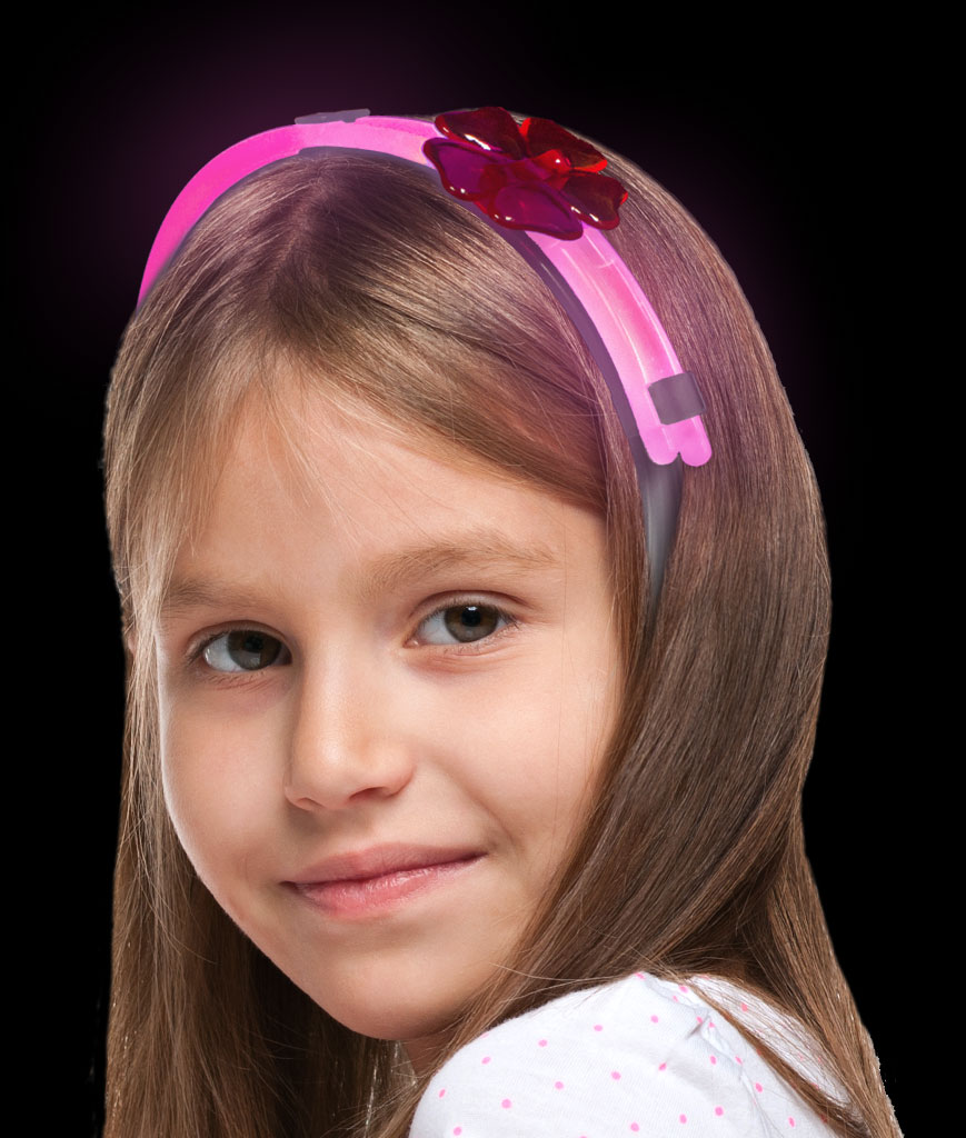 Fun Central AT905 Glow in the Dark Flower Headband- Pink