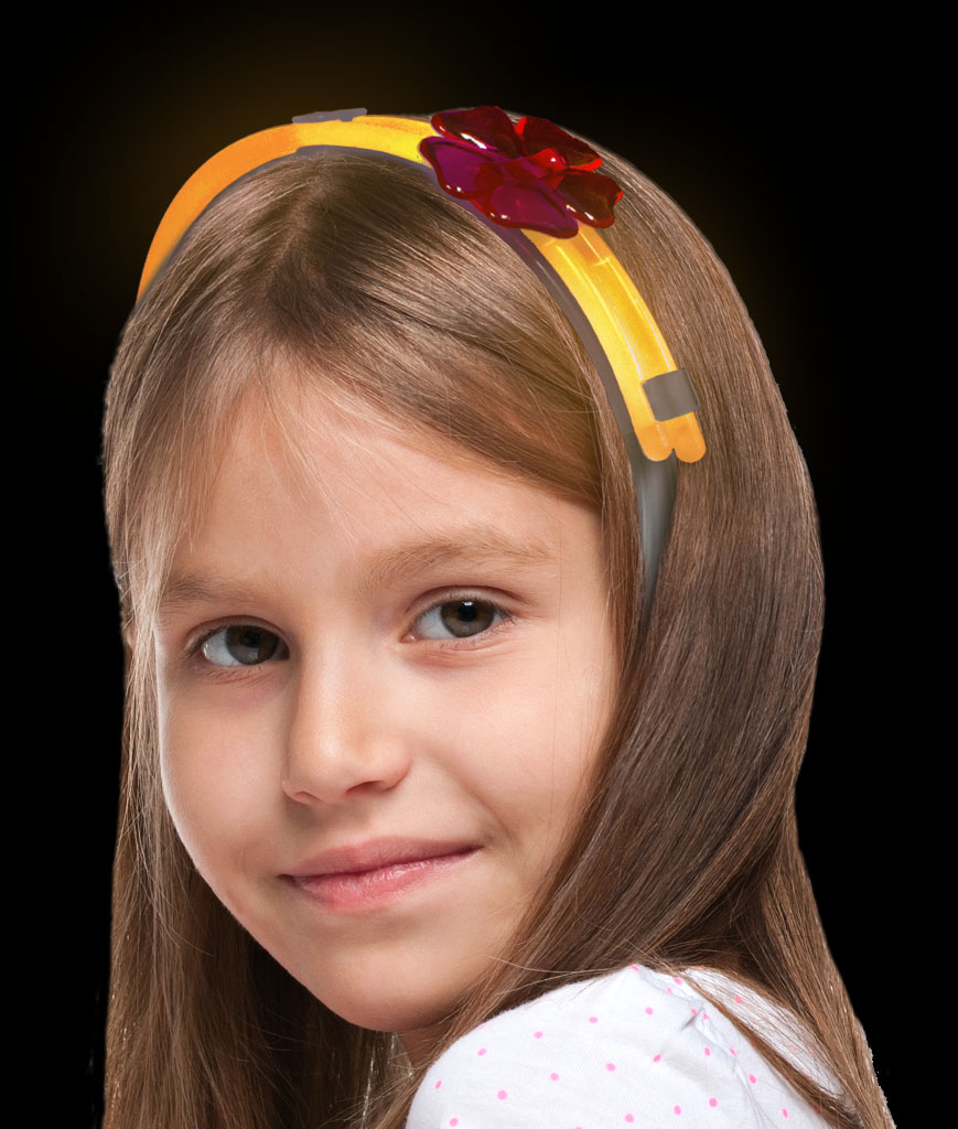 Glow Flower Headband- Orange