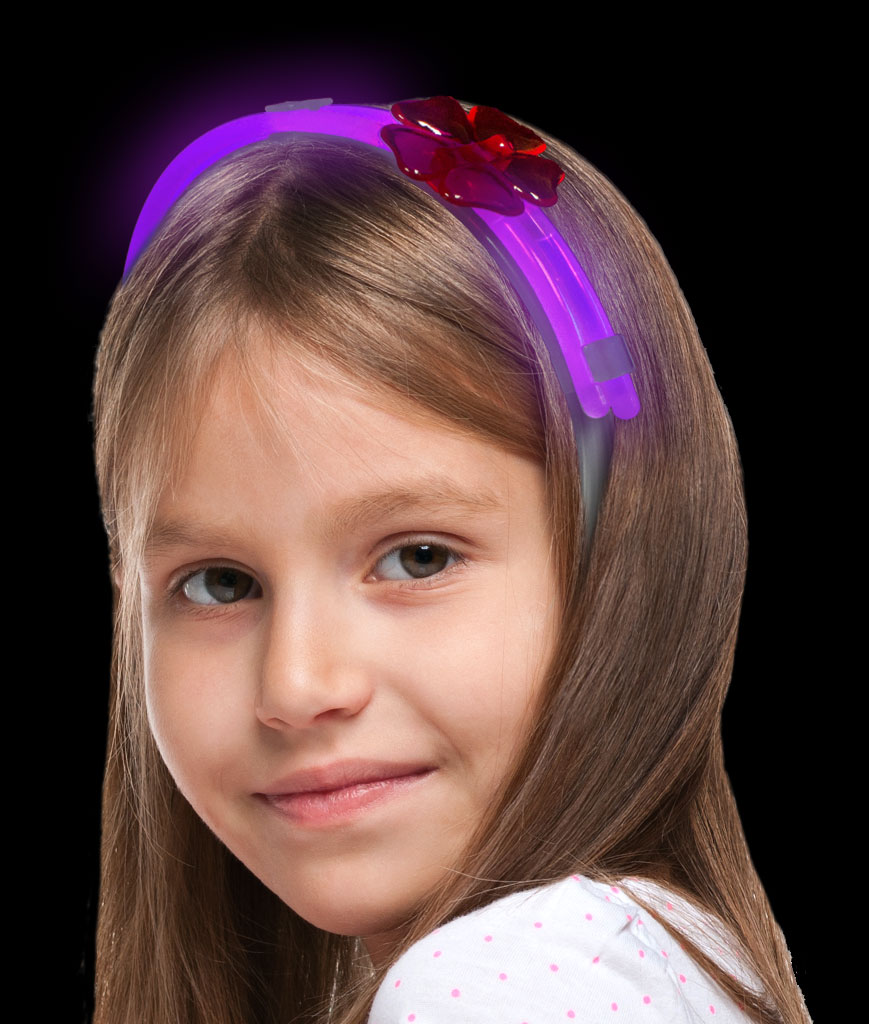 Glow Flower Headband- Purple