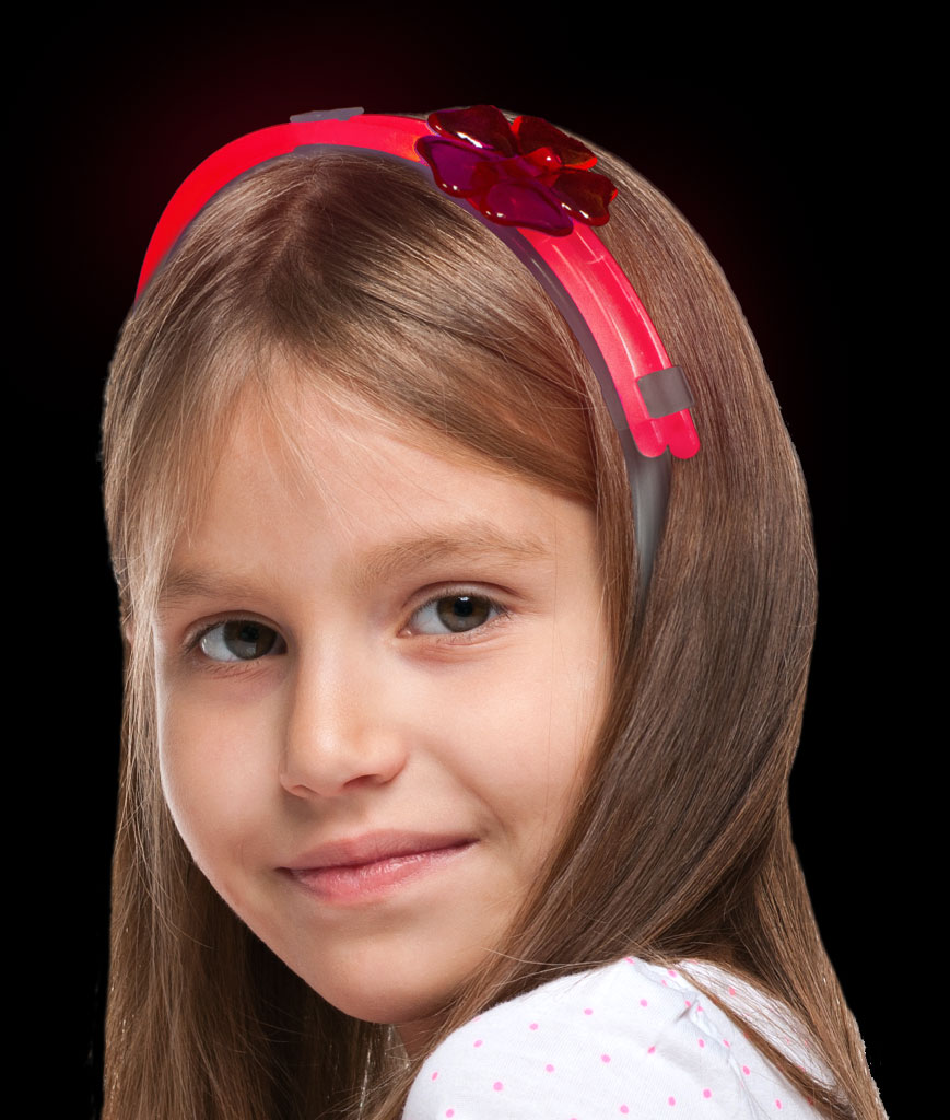 Glow Flower Headband- Red