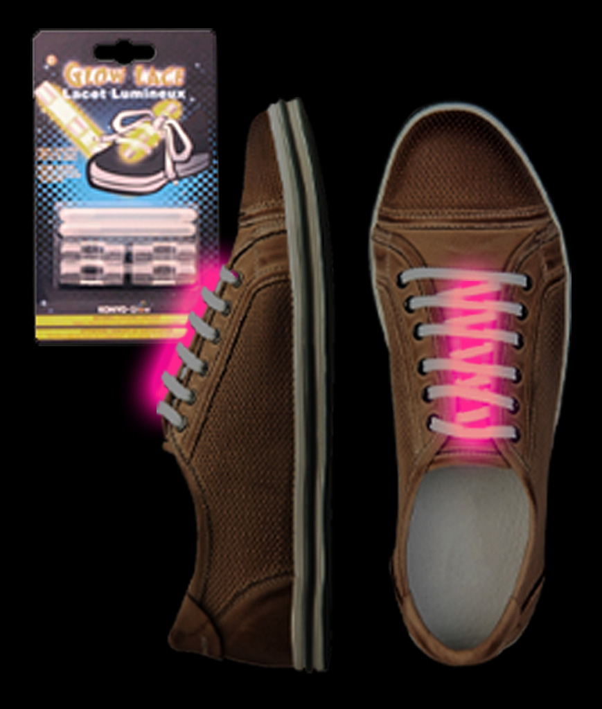 Fun Central AJ253 Glow in the Dark Shoe Laces - Pink