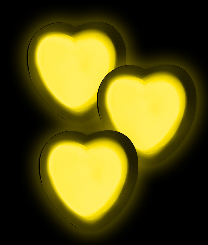 Glow Badge Heart - Yellow