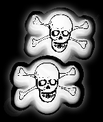 Glow Badge Skull - White