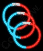 Fun Central B23 8 Inch Glow in the Dark Bracelets - Blue-Red