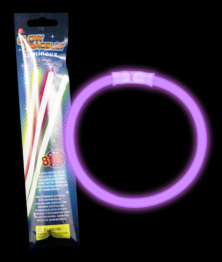 8 Inch Retail Packaged Glow Bracelets- Purple