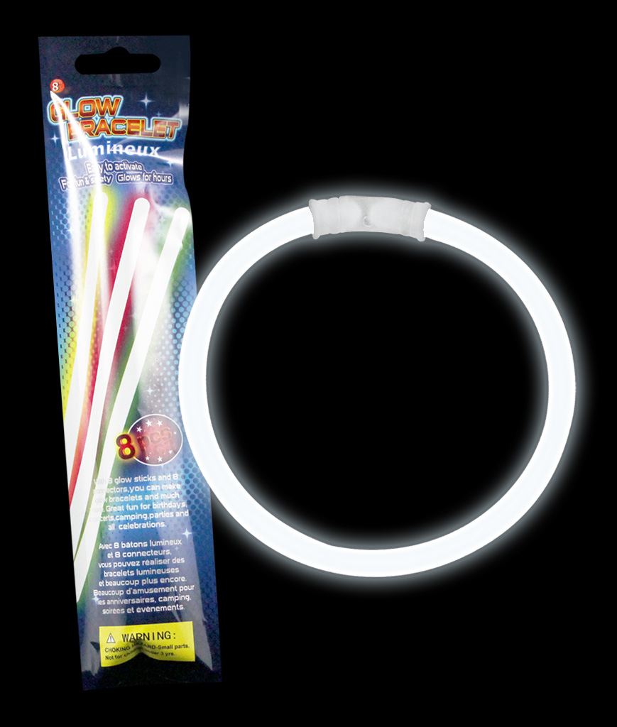 8 Inch Retail Packaged Glow Bracelets- White