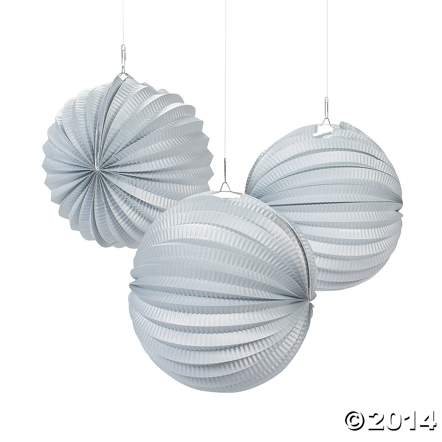 Paper Small Silver Party Lanterns