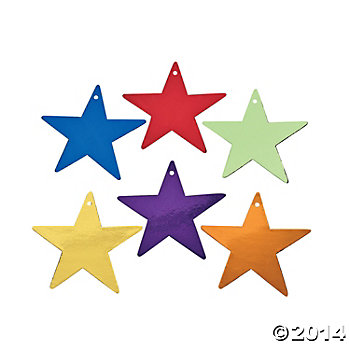 Assorted Colored Cardboard Stars 5in