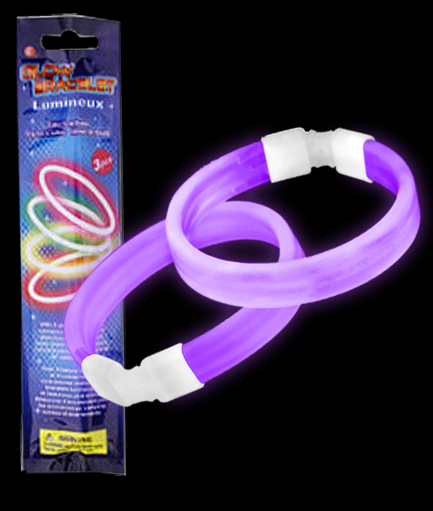 Glow Retail Packaged Triple Wide Bracelet - Purple